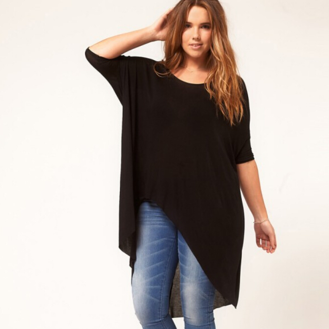 6xl plus size women irregular t shirt 5xl black large big