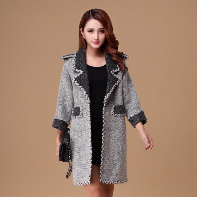 Новый 2016 Мода Женщин Твидовый Пиджак Длинный Участок Высококачественной шерсти пальто oyterwear трикотажные кружева Ветровка Для Зимы Смеси