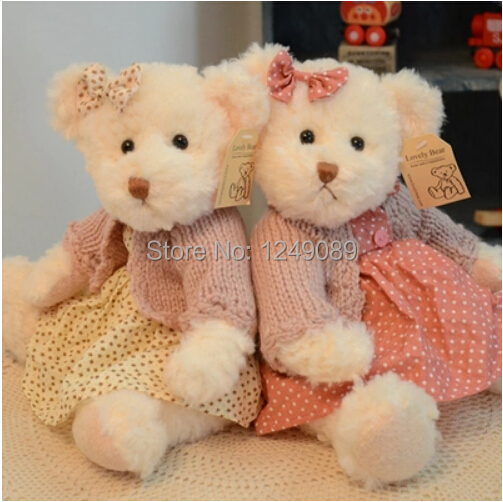 30 cm 2 pieces sister teddy bear with dresses stuffed animal toy high quality valentine gift(China (Mainland))