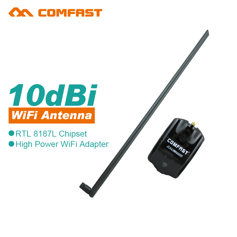 Comfast High Power RTL8187L 54Mbps 10dBi Antenna Wireless WiFi Adapter with 1.2m usb cable line wifi dongle signal king adaptor(China (Mainland))