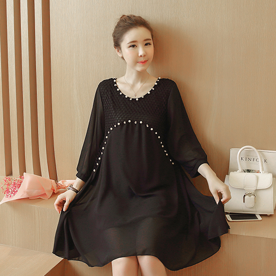 Summer Chiffon Hollow Out Beading Maternity Dresses Plus Size Pure Colors Clothes Fashoin Quality Goods Pregnant Dress HMA161(China (Mainland))