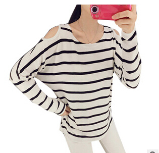 New 2015 Fashion Brand T Shirt Women Long Sleeve Sexy Striped strapless T Shirt Knitted Novelty