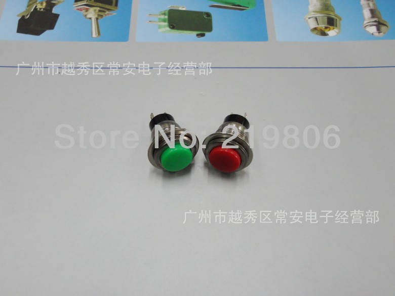 Free shipping high quality DS-318 1A 250VAC Red small momentary led push button switch Diameter12mm red,green,yellow(China (Mainland))