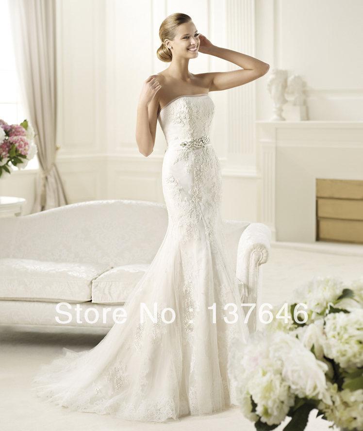 Elegant2014 Spring Strapless Neckline Sleeveless Mermaid Lace up Elie Saab Wedding Dresses DICIEMBREdiscount(China (Mainland))