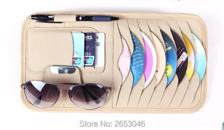 Car-Styling New Smart Car Sun Visor Leather CD DVD Storage Bags With Tissue Box Vehicle Organizer Pocket For Card Coin Pen Disk(China (Mainland))