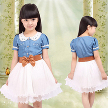 2016 new Spring & Summer Children clothing cotton denim dress teenage girl one-piece child vintage princess dress with belt(China (Mainland))