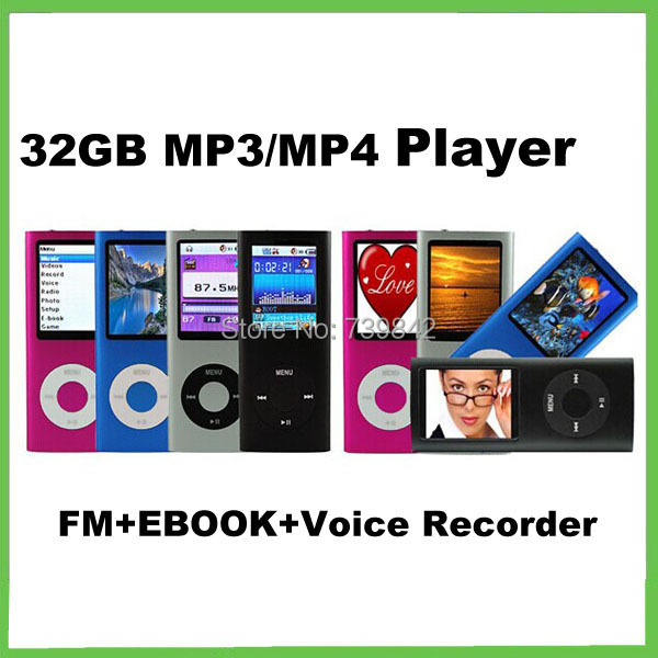 32GB mp4 player music 4th Generation 1.8 inch Screen,microphone recording,Video Radio FM 9 colors Free shipping(China (Mainland))