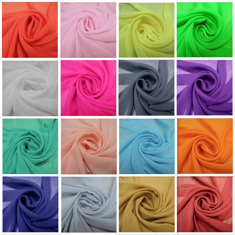Free shipping 102colors in stock Chiffon fabric soft fabric for dress lining cloth material 100d georgette fabrics wedding DIY(China (Mainland))