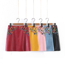 Buy Skirts womens summer 2017 leather skirt casual embroidered mini skirt high waist skirt slim womens clothing for $22.46 in AliExpress store