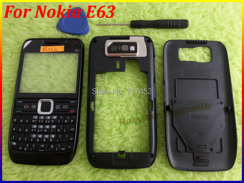 Wholesale Top Quality New Full Housing Cover Case Replacement Shell+Keyboard For Nokia E63 Free Shipping BLACK(China (Mainland))