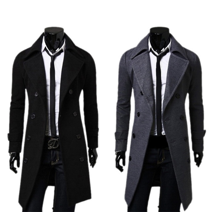 Stylish Fashion Winter Warm Men Trench Double Breasted Overcoat men's Long coat Outwear(China (Mainland))