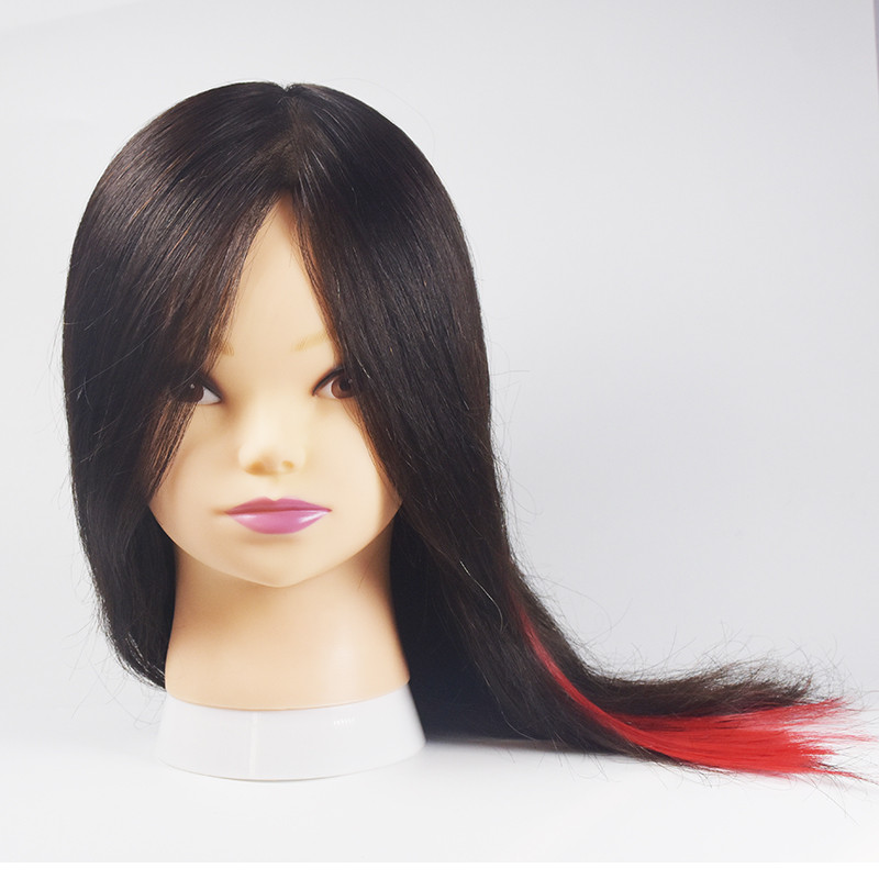 Free Shipping 100 Human Hair Mannequin Training Head Dummy Mannequin 16″ Natral Black Color Mannequin Doll Head For Baber School