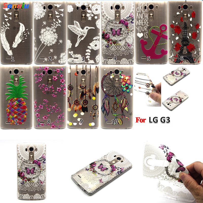 Sanniu Phone Case Cover For LG G3 Ultra Soft TPU Transparent Flowers Patterns Back Design Case For LGG3 Free Shipping(China (Mainland))
