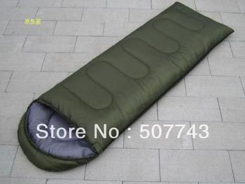 Autumn and winter 1.0 KG envelope style outdoor thickening adult sleeping bag thermal camping hooded sleeping bag,free shipping