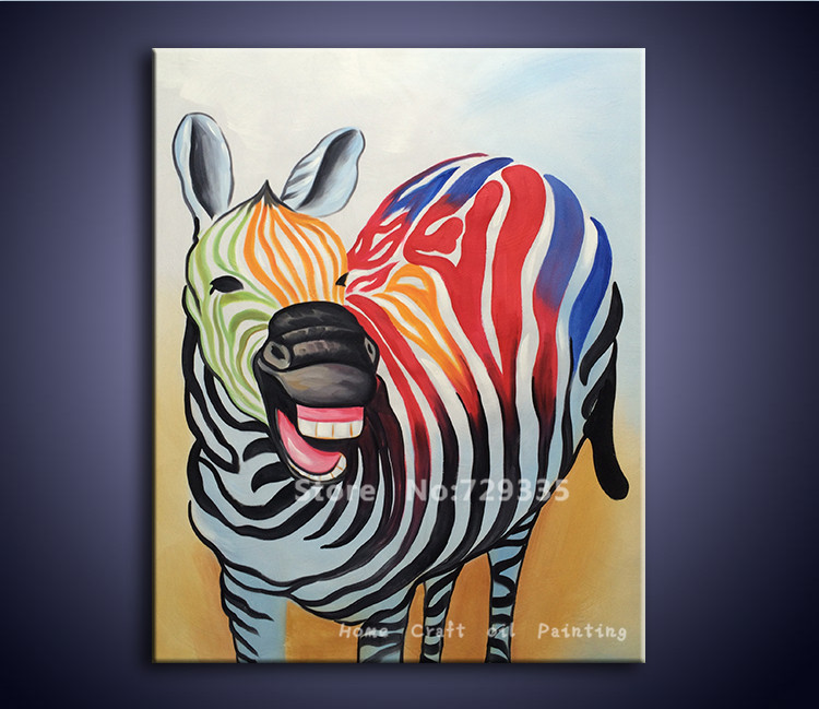 Free shipping Handpainted Oil Painting Canvas Acrylic Abstract Colorful zebra Painting Modern home Decoration Wall Art picture(China (Mainland))