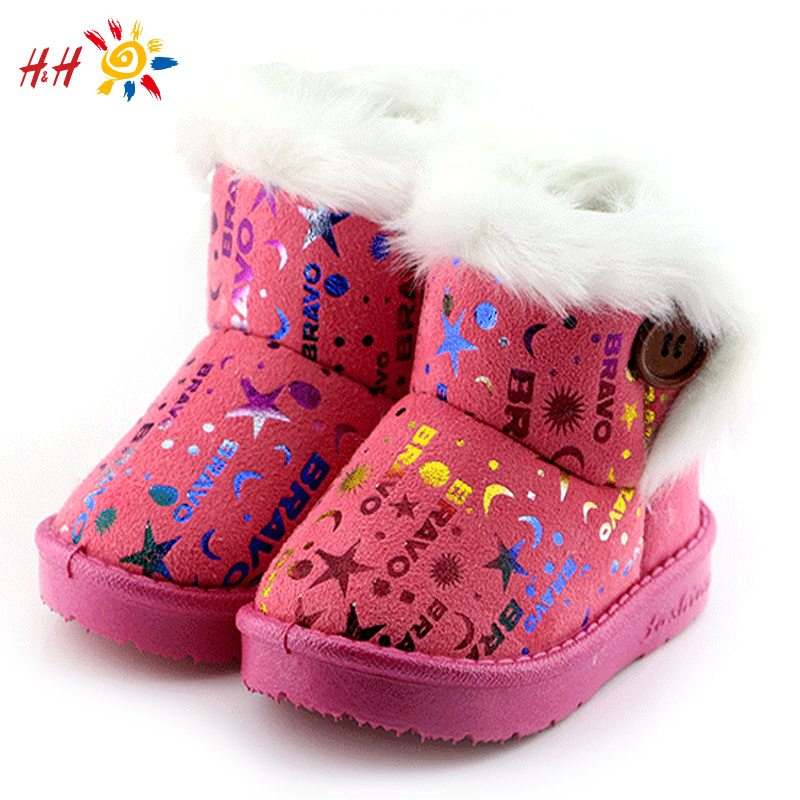 H&H 2015 New Baby Winter Children Boots Thick Warm Shoes Cotton-Padded Suede Buckle Boys Girls Boots Boys Snow Boots Kids Shoes(China (Mainland))