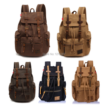 Vintage Men Casual Canvas Leather Backpack Rucksack Bookbag Satchel Hiking Bag HB88