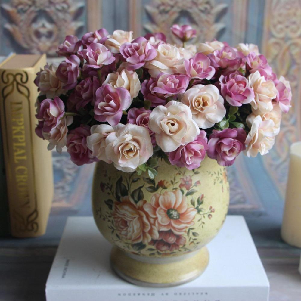 Free Shipping 2016 High Quality Austin 15 heads Autumn Silk Flowers Artificial Rose Bridal Wedding Arrangement Wholesale Pink(China (Mainland))
