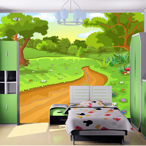 Cartoon backgrounds room the image kid for Cartoon mural wallpaper