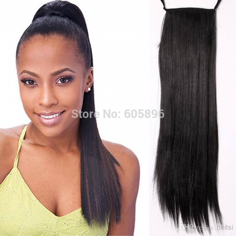 Fashion women synthetic straight ponytail hair extensions 55cm/70cm four colors drop shipping(China (Mainland))