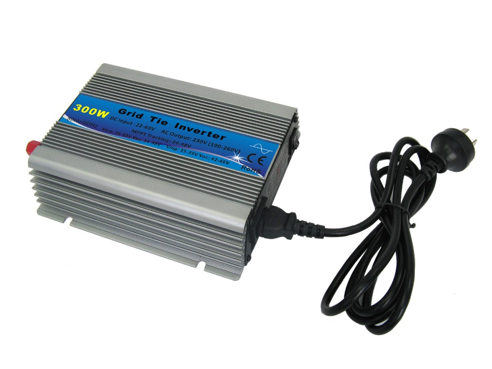 300W Solar Power Micro Grid Tie Inverter Pure Sine Wave 300WATT On Grid Tie Inverter 22-60VDC to 110V or 220V AC Inverters(China (Mainland))