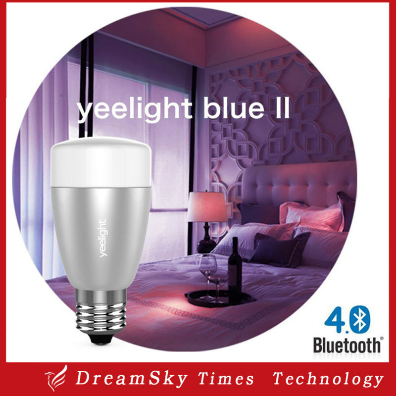 5pc Yeelight blue II LED Smart Lamp Wireless Bluetooth 4.0 RGB E27 6W LED bulb Control Via App for IOS and Android Smart Phones(China (Mainland))