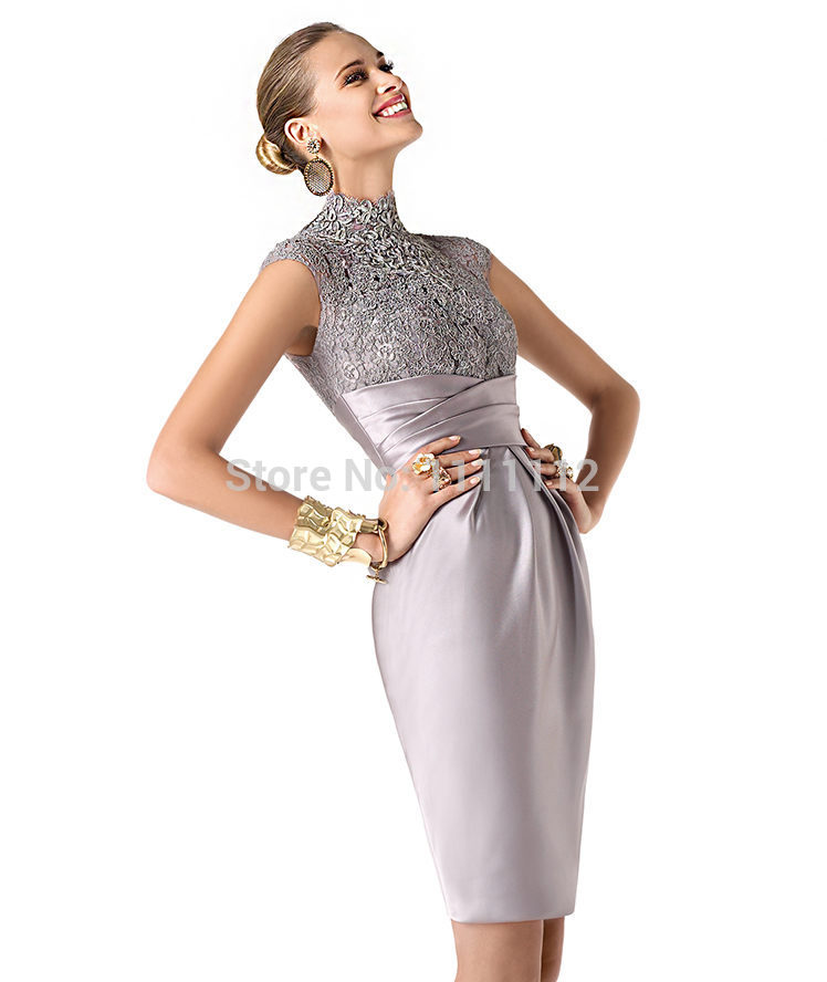 Nitree Sexy Short silver Evening Dress Prom Gown Romantic ...