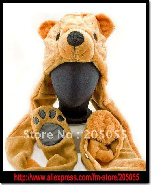 NEW Polar Bear Mascot Fancy Dress Fancy Costume Hat Cap Gloves 3 COLORS for Halloween/Party/Christmas cute cartoon animal hat