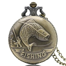 Buy Cindiry New Vintage Bronze Fishing Angling Quartz Antique Pocket Watch Men Women P35 for $2.16 in AliExpress store