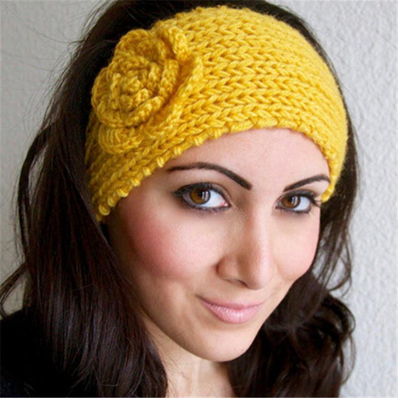 Classical Flower Women's Knitted Headwrap Knitting Crochet Headband Ear Warmers for Girls Teens Women 852469(China (Mainland))