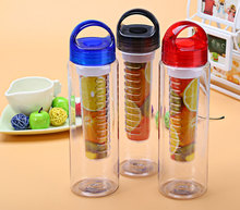 Newest Health 700ml Infuser Fruit Lemon Juice Maker Sport Travel Portable Water Bottles with Suction Nozzle Cup Fruit Cap(China (Mainland))