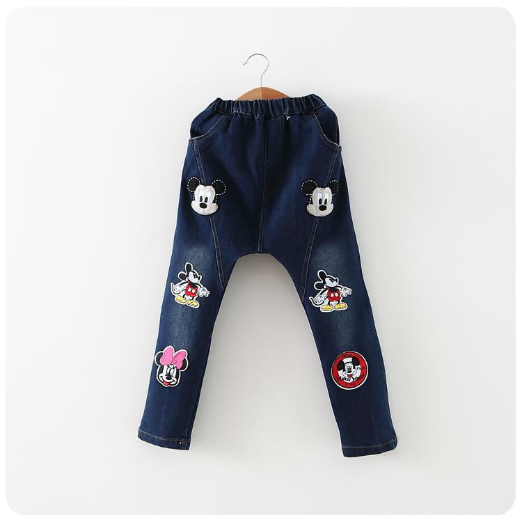 2015 New Summer Girls Cartoon Mouse Jeans Childrens Denim PANTS(China (Mainland))