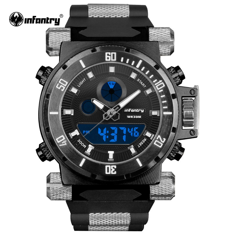 INFANTRY Watch Army Aviator Top Brand Quartz Watches Digital Luminous Silicone Strap Sports Watches Relogio Masculino Clock(Hong Kong)