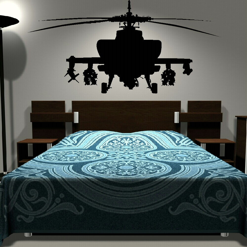 Removable army helicopter sticker bedroom art decal boys Wall stickers for bedrooms