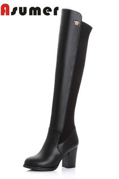 Осень зима сексуальная согреться мягкая кожа более-сапоги элегантные толщиной пятки круглым носком долго женщины сапоги