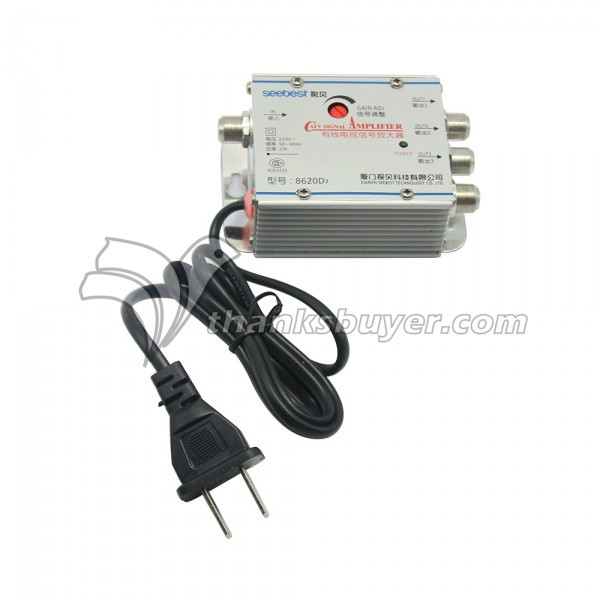 Seebest 8620D7 1 in 3 Out 20dB Gain Adjustable CATV Signal Amplifier TV Signal Booster(China (Mainland))