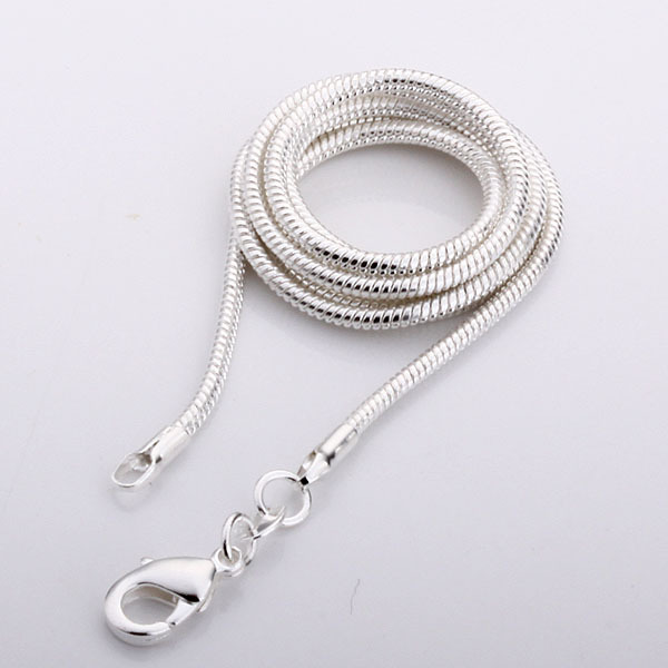 Hot  Wholesale Price silver snake necklace 2mm silver chain necklace Silver jewelry wholesale fashion chain