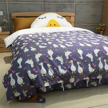 2017 Duck Bear cartoon kids bedding set 5pcs 100%cotton duvet cover set bed sheet linen quilt bedclothes pillowcase set queen(China (Mainland))