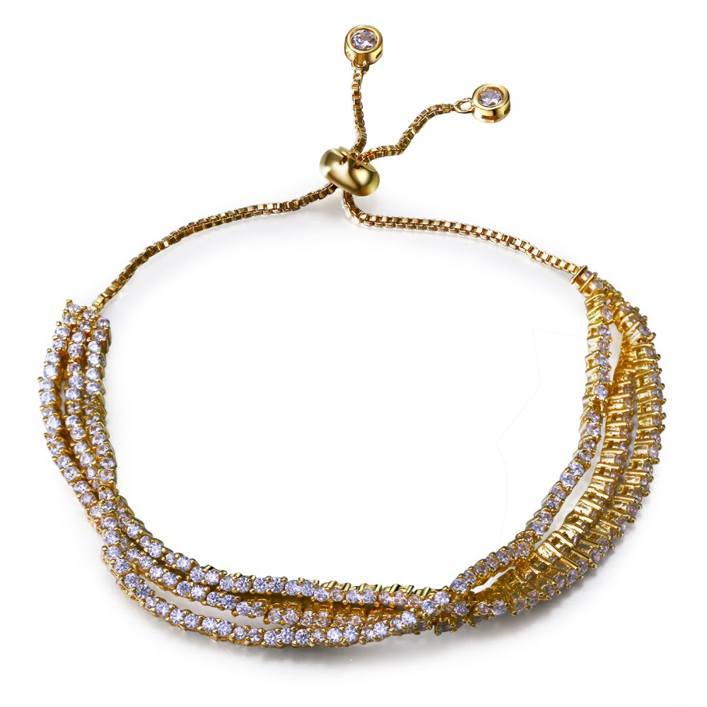 Bracelets for women gold plated with white cz bracelets 3 line design European & American style fashion jewelry Free shipment(China (Mainland))