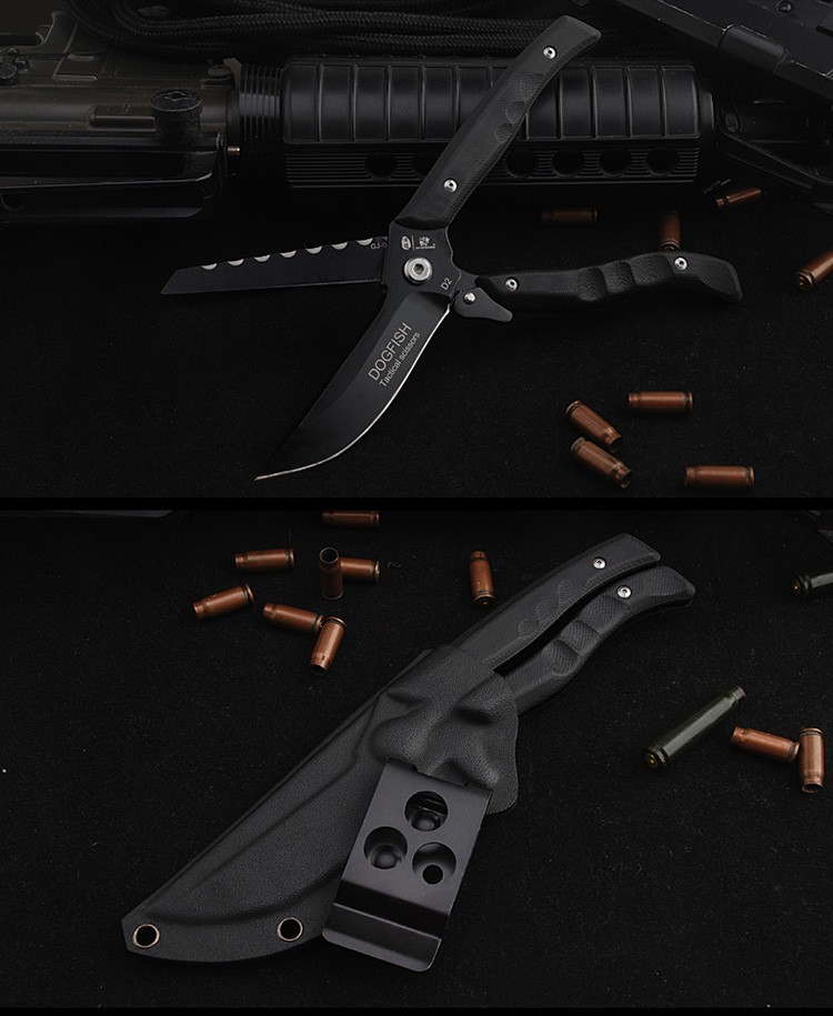 Buy HX OUTDOORS survival knife  D2 blade multifunctional scissors dual-purpose high hardness knife hunting utility Knives hand tools cheap