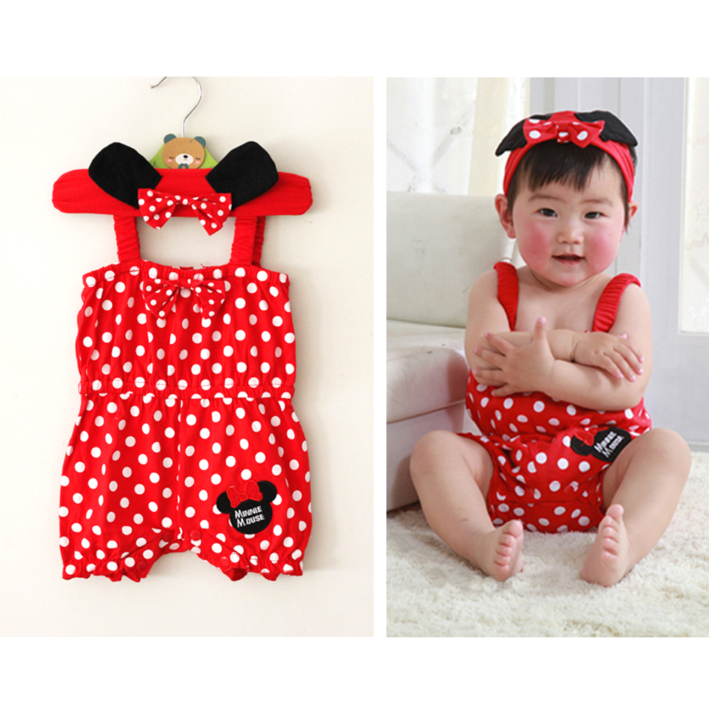 2PCS Sweet Girls Baby Infant Ear Bowknot Headband Minnie Romper Jumpsuit Outfits 0-18M(China (Mainland))