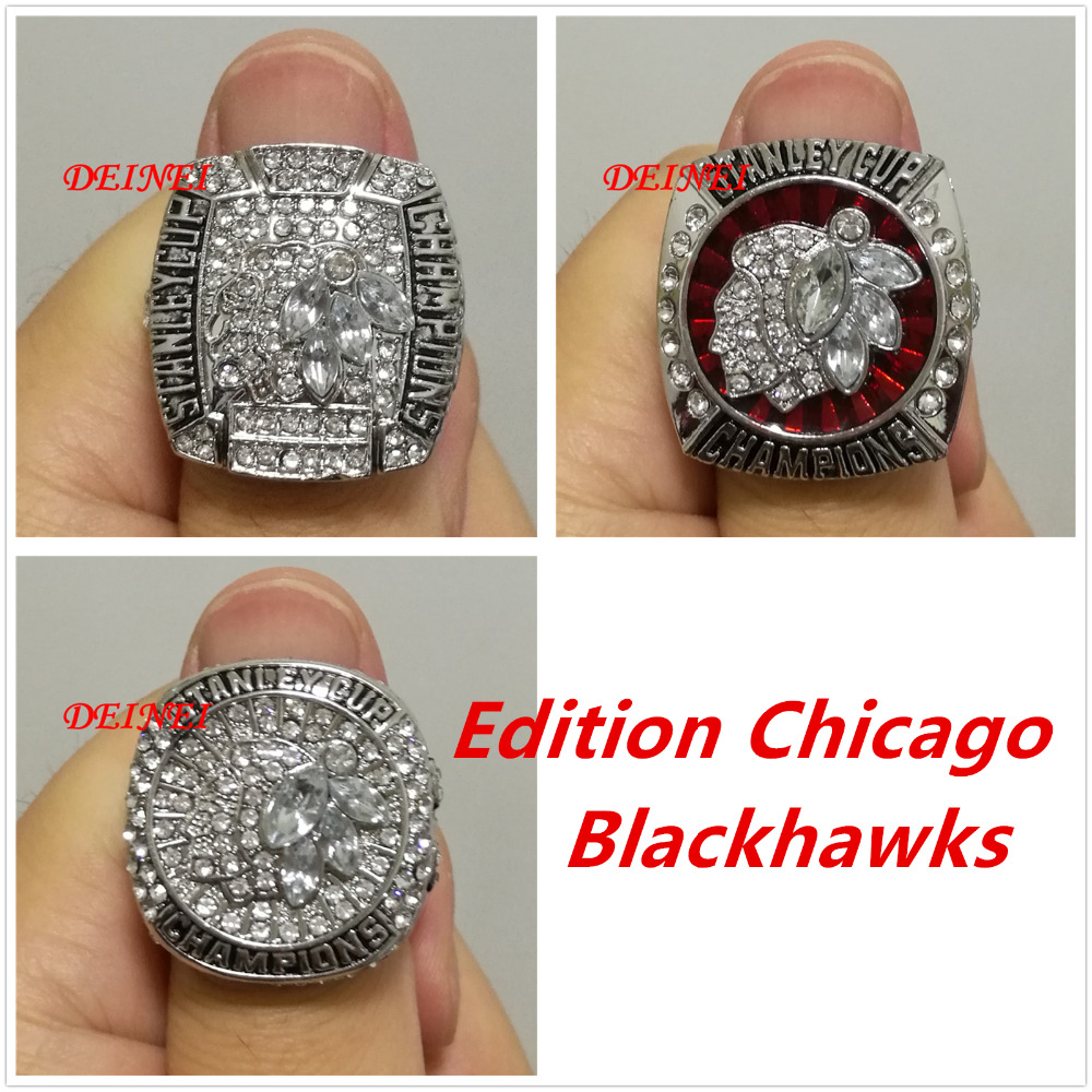 2010 2013 2015 Official Edition Chicago Blackhawks replic hockey Stanley Cup championship alloy rings sets Size 11(China (Mainland))