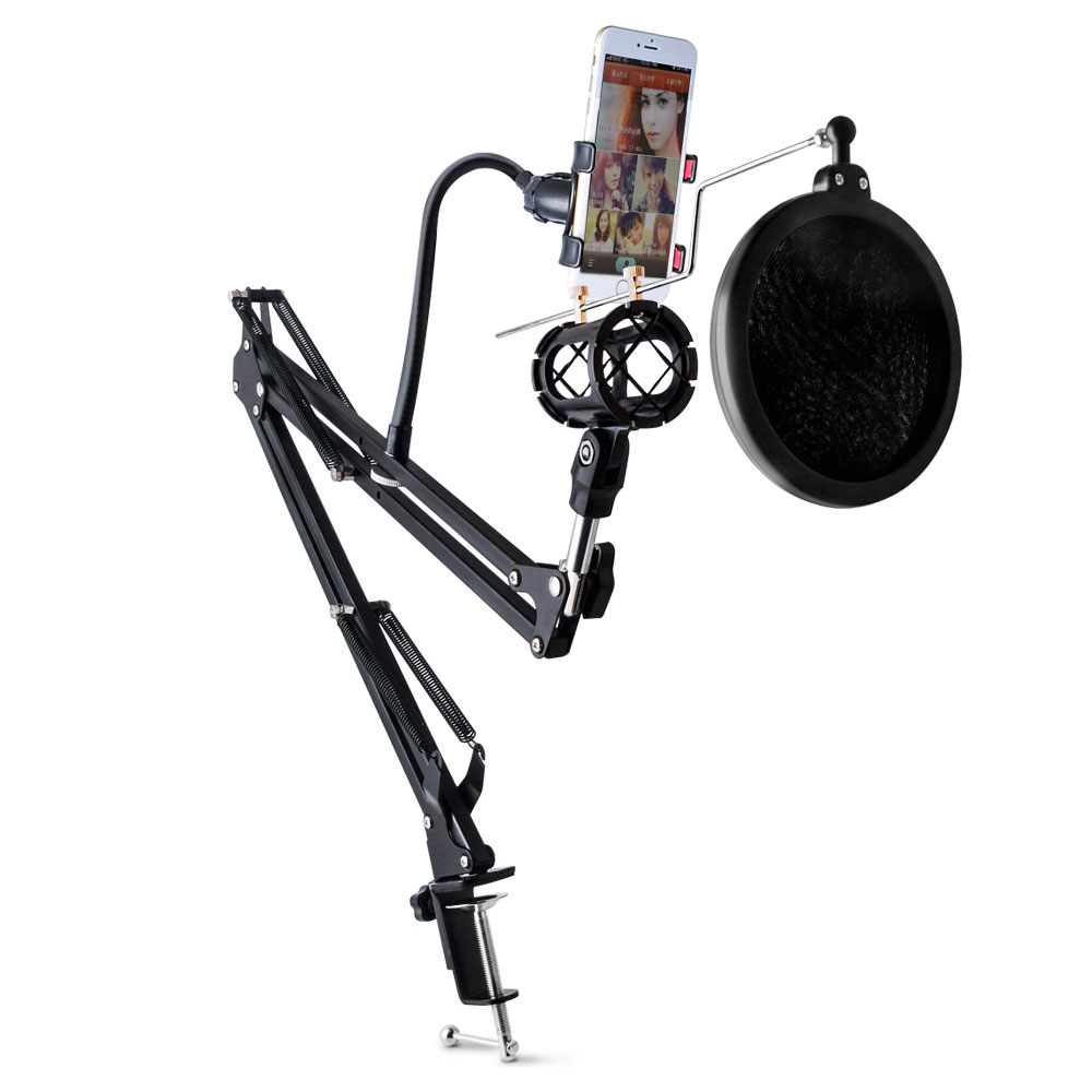 2016 Adjustable Recording Microphone Arm Stand with Mic Round Shape Wind Pop Filter Mask Shield Phone Holder Metal(China (Mainland))