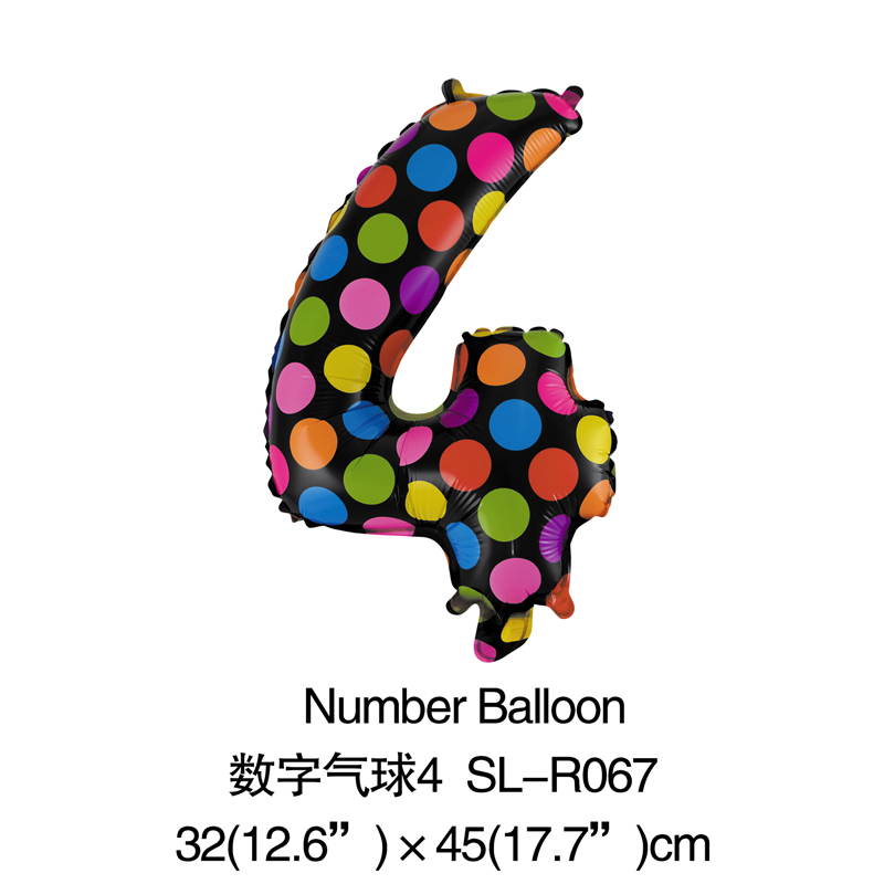 Digital NO.4 Dot Balloon Number Foil Balloons Birthday Wedding Party Decoration Numbers Mylar Balloons Animals Air Balls(China (Mainland))