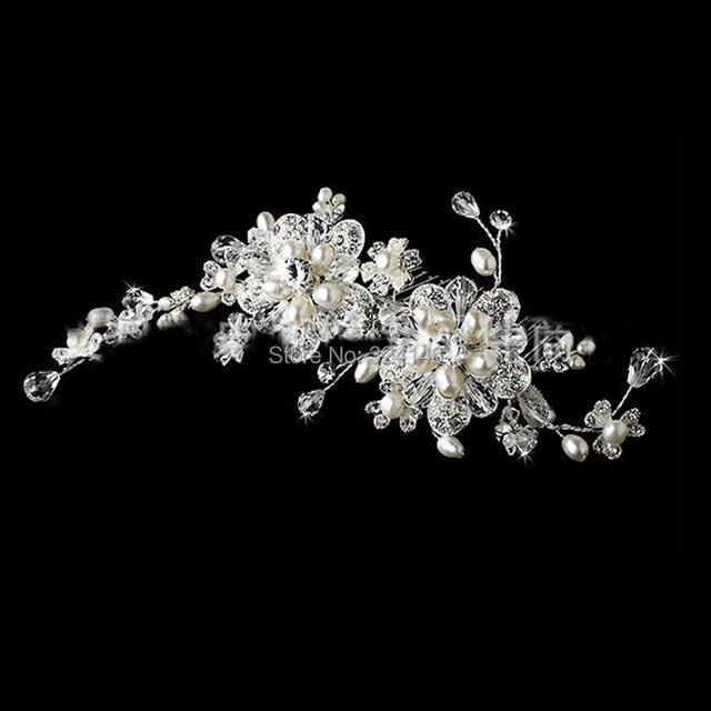 New Bridal Wedding Silver Diamante Crystal Pearl Flower Hair Combs Bride Tiara Hair Accessories Women Headwear Hair Jewelry