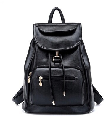 new 2015 school bag women backpack shoulders female travel bags new wind tide pu leather with soft black bag(China (Mainland))