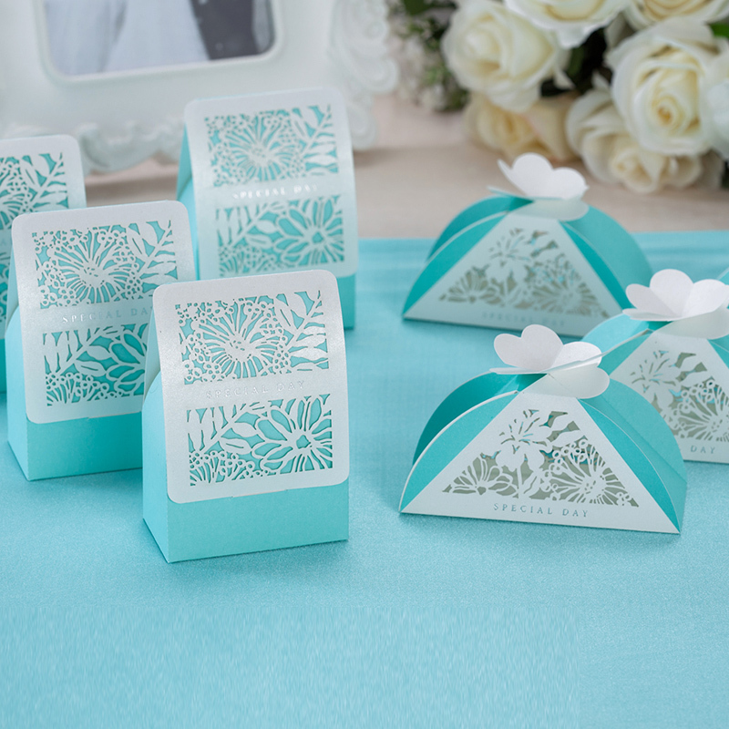 blue color gift box,blue flower candy box,wedding favor and gifts ...