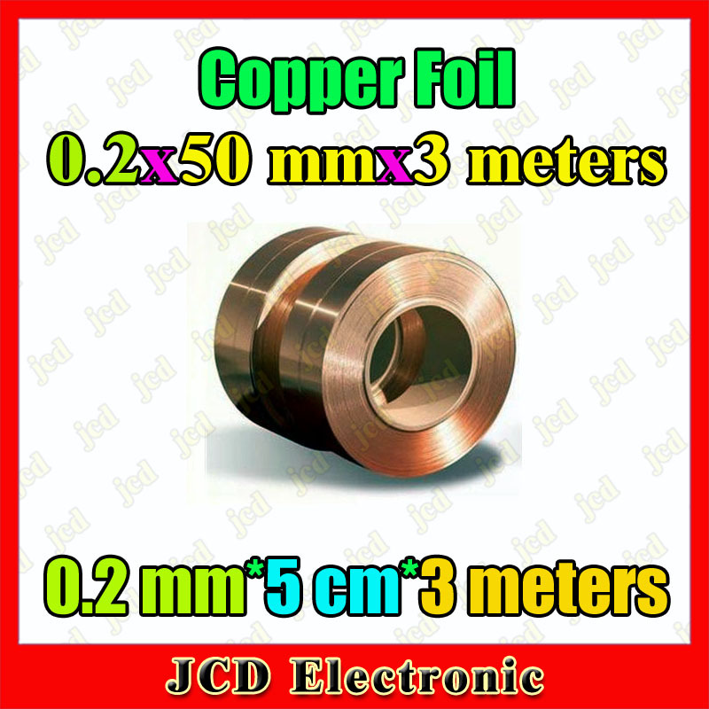 0.2mm*50mm*3meters Copper strip 0.2mm thickness copper foil 50mm wide Copper belt 3meters length Copper Tape 0.2mm*5cm(China (Mainland))