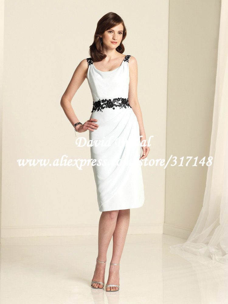 New style he569 appliques short wedding guest low cowl for Black and white dresses for wedding guests