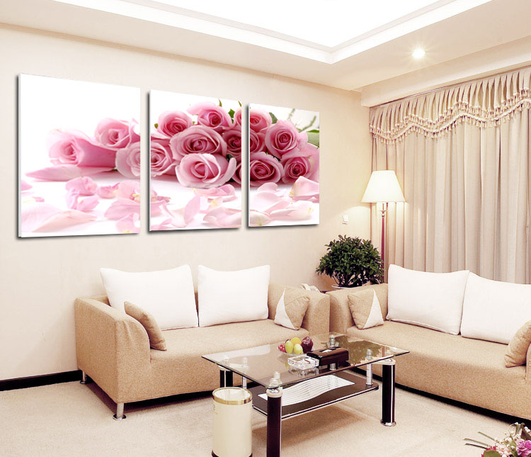 2015 new hot Pink rose canvas painting Free shipping 3panels home decor modern decorative oil painting for living room No Frame(China (Mainland))